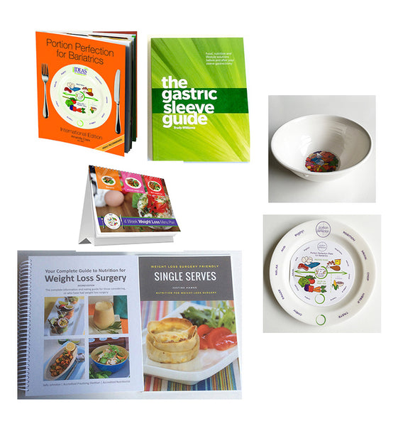 Gastric Sleeve 5 Book Recipe & Meal Plan + Plate & Bowl Pack