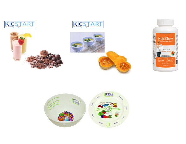 KicStart 30 Assorted Meal Replacements, 1 Multivitamin & Melamine Portion Plate & Bowl Starter Kit