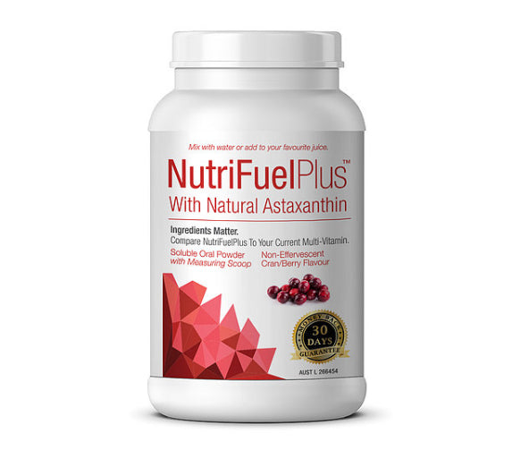NutriFuel Plus with Natural Astaxanthin Multivitamin Powder - Cran/Berry Flavour - 1, 3, or 6 Pack