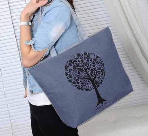 TREE OF LOVE CANVAS MESSENGER TOTE BAG