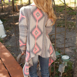 AZTEC PATTERN CARDIGAN SWEATER