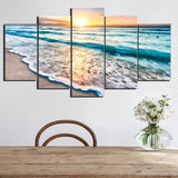 BEACH SUNSET WALL ART 5 PANEL HD CANVAS PRINT