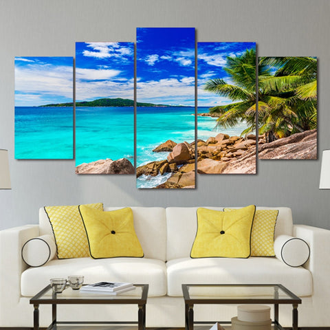 BEACH ESCAPE WALL ART 5 PANEL HD CANVAS PRINT