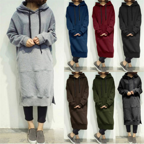 HOODIE SWEATER DRESS LONG HOODED SWEATSHIRT