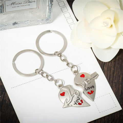 COUPLES HEART KEYCHAIN SET