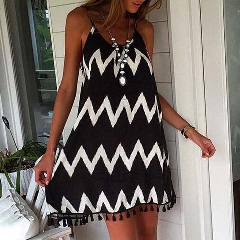 WAVE STRIPE BEACH DRESS