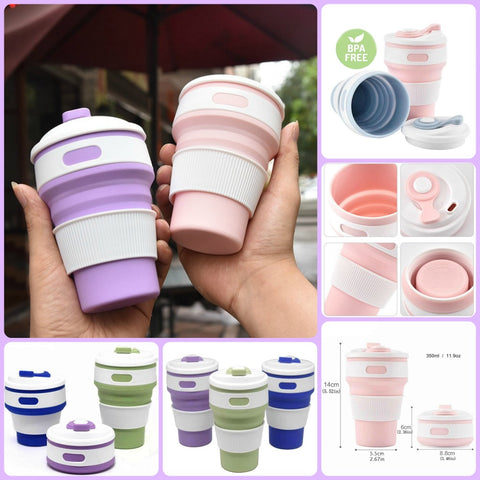 FOLDING TRAVEL MUG CUP BPA FREE