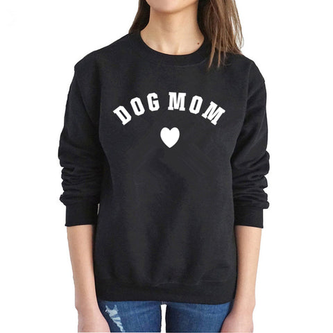 DOG MOM HEART LOOSE FIT PULLOVER SWEATSHIRT