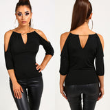 BLACK CASUAL LONG SLEEVED BLOUSE