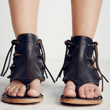 BOHO VINTAGE LEATHER SANDAL FLATS