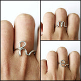 LETTER INITIAL ADJUSTABLE NAME RINGS