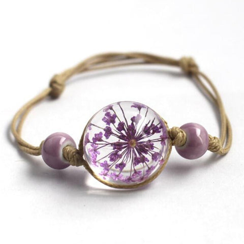 FLOWER GLASS PENDANT ROPE BANGLE BRACELET