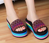 BOHO RAINBOW WEDGE SANDALS