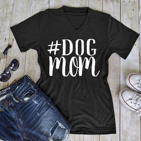 DOG MOM WOMENS V-NECK T-SHIRT TOP