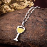 WINE GLASS PENDANT STAINLESS STEEL NECKLACE