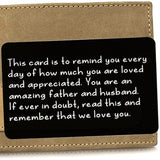 STAINLESS STEEL LOVE MESSAGE ENGRAVED WALLET INSERT CARD
