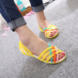 BOHO NEON JELLY SANDALS FLATS