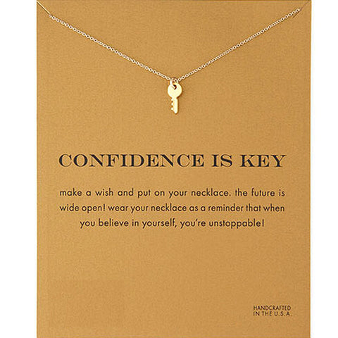 KEY PENDANT NECKLACE WITH CONFIDENCE MESSAGE CARD