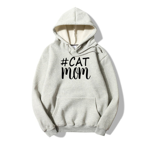CAT MOM HASHTAG HOODIE COTTON SWEATSHIRT