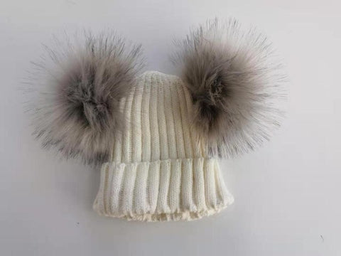 FURRY POMS KNIT HAT KIDS