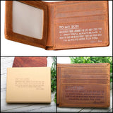 ENGRAVED WALLET MENS LEATHER WITH RFID BLOCKING