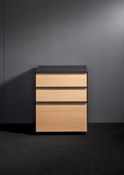 Three drawer unit with Oak Veneer fronts