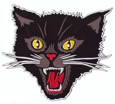 XL Large Black Screaming Cat Rockabilly Horror Tattoo Goth Patch - Titan One
