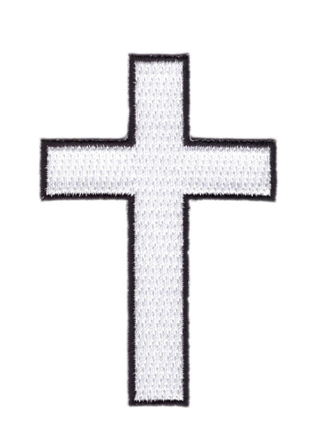 Christian White Cross Biker Jacket Patch