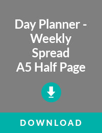 Day Planner Weekly Spread A5 Half Page Size - Free PDF Download