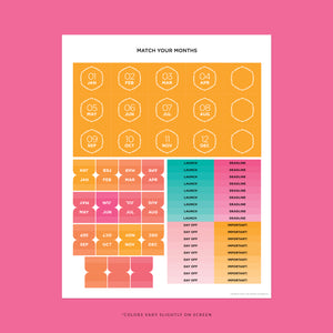 Match Your Months Sticker Sheet