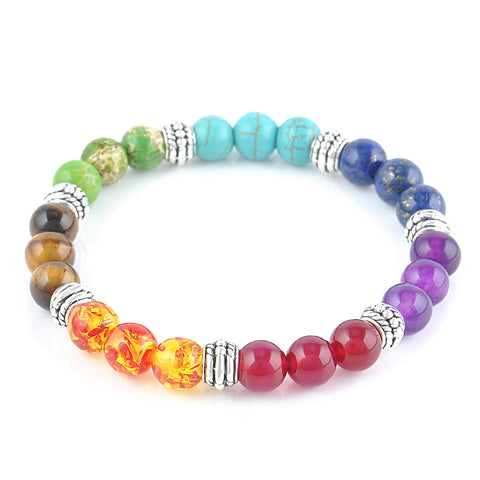 7 Chakra Healing Reiki Prayer Gemstone Beads Bracelet