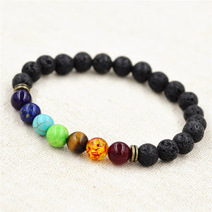 7 Chakra Healing Reiki Prayer Gemstone and Lava Rock Beads Bracelet