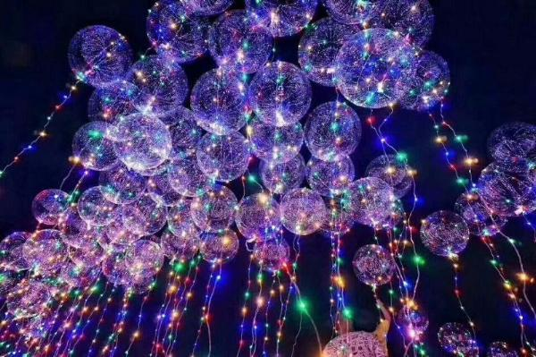 glow led lighted up light balloon lights balloons with white blue pack