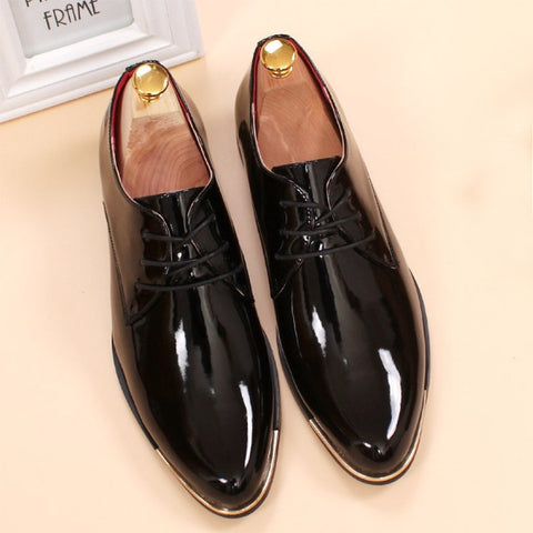 Men's Patent Leather Lace Up Dress Shoes