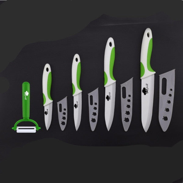 "Ceramic Knives Set 3"" 4"" 5"" 6"" and Peeler"