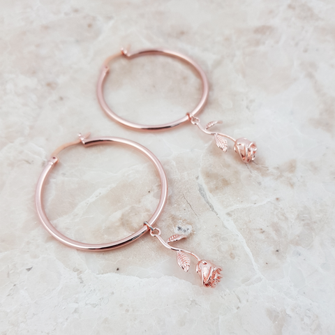 Rose Gold Rose Pendant Hoop Earrings