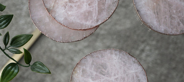 Rose Quartz Agate Crystal Coasters