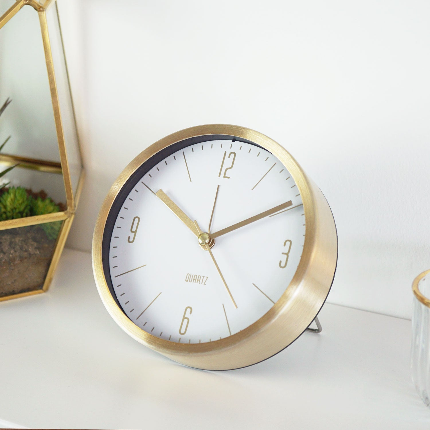 white gold clock small table bedside petite gold dials elegant present