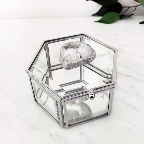 Our silver glass jewellery trinket box with a agate crystal secured beautifully to the hexagonal lid.