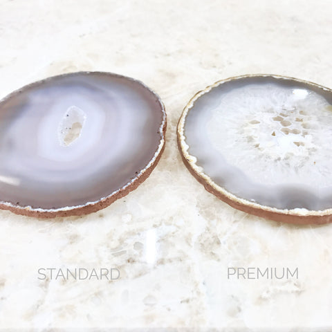 Natural Agate Crystal Coaster Rose Gold Edging