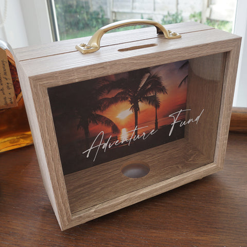 Our new and improved design of our adventure fund money box. Save your pennies for the trip you have been waiting for.