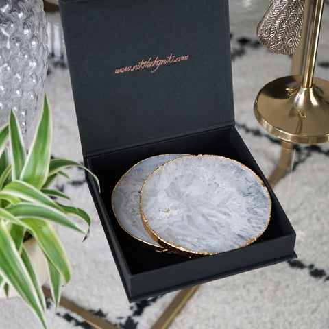drinks coasters crystal natural agate metallic edge gold rose gold silver waterproof