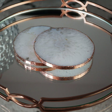 Our rose gold quartz crystal coasters with a rose gold edge, make the perfect gift this Mother's Day.