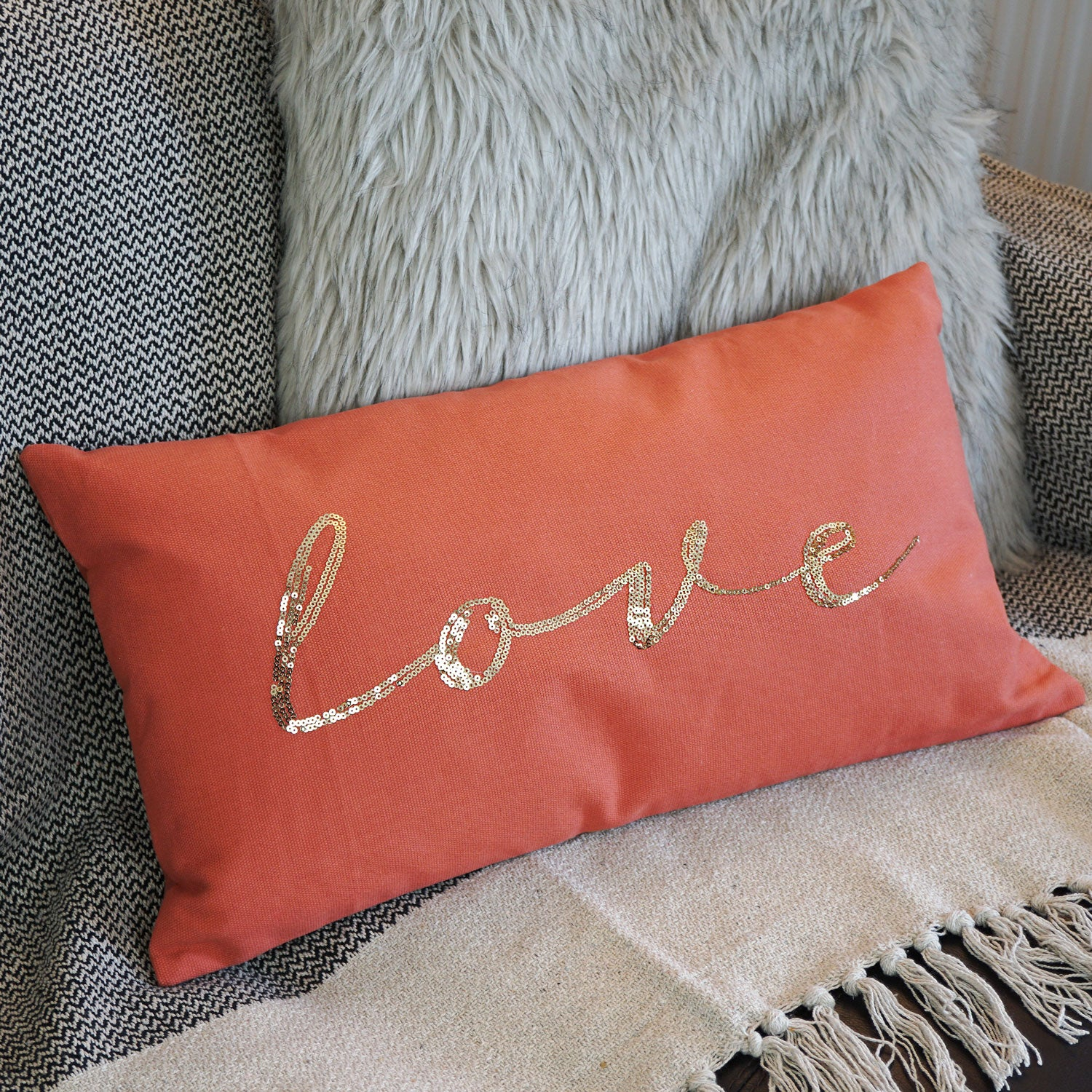 rectangle cushion orange love terracotta gold writing love sequins scandinavian style hygge