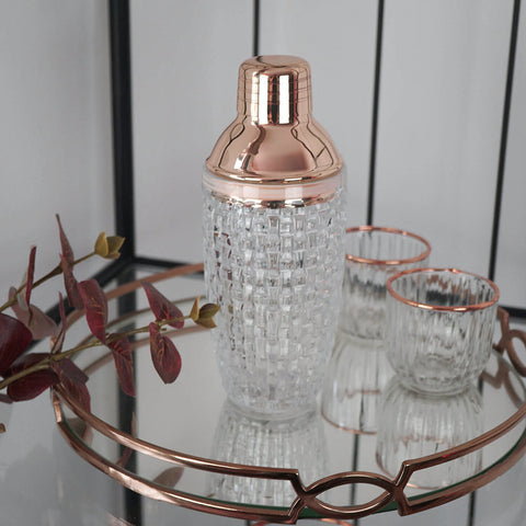 Our rose gold luxury, textured glass cocktail shaker with rose gold plated lid and strainer, makes the perfect gift for all cocktail lovers.