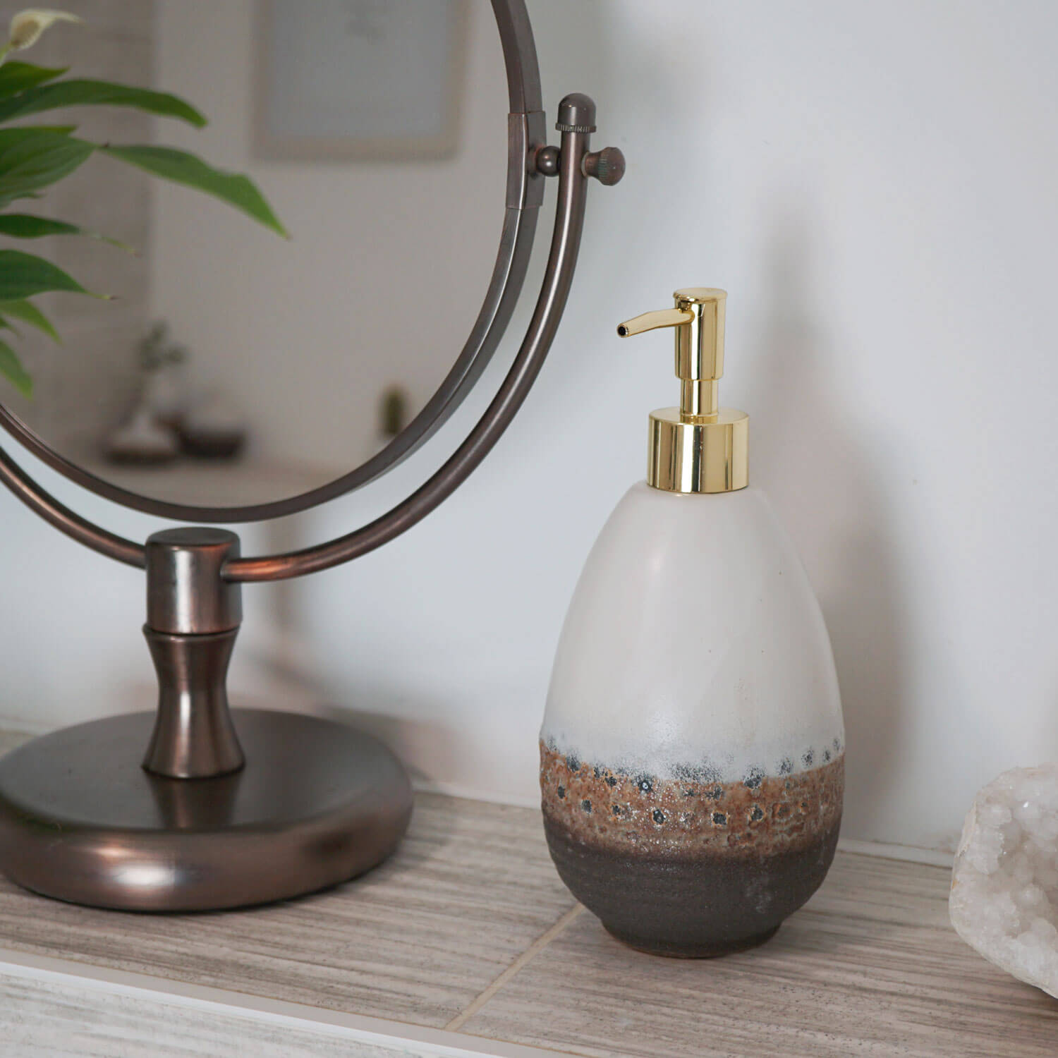 soap dispenser stone sand gold pump elegant luxury housewarming gift