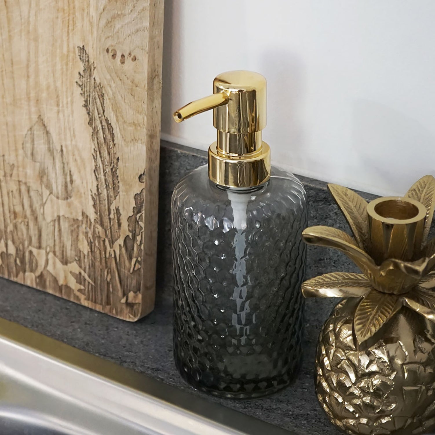 grey soap dispenser gold pump luxury fancy