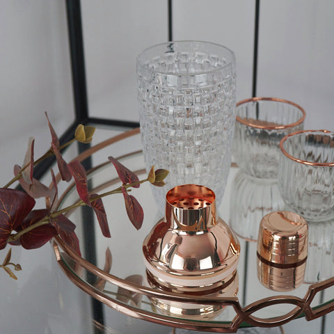 Cocktail Drinks Shaker Rose Gold Mocktails Mixer With Strainer And Lid