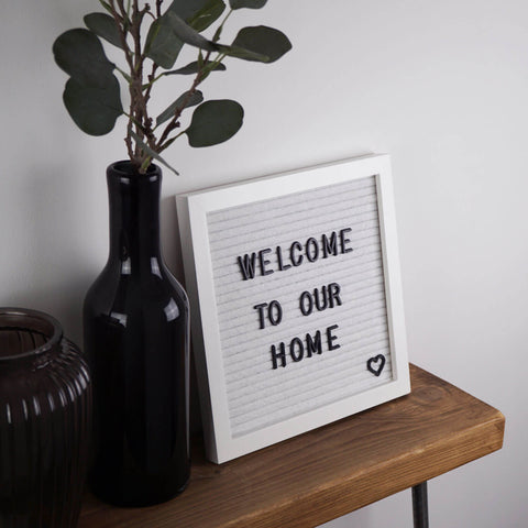 Our quality small white letter board accompanied by a gold, silver and black letters, number and symbols so you can create your own personal message for your home.