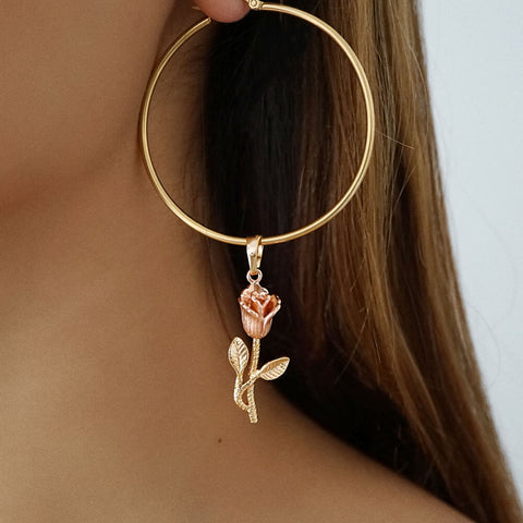 rose flower pendant hoop earrings gold rose gold sterling silver hoops for women